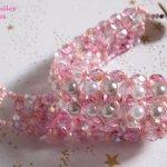 Bracelet perles  'Gouttes de rose' tourbillon de perles en nacre