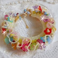 Bracelet Garden Flowers avec des perles de Swarovski, des fleurs Frosted, en argent 925/100 et en plaqué or 3 microns