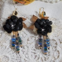 BO Attrape-Rêves Noir et Doré Pampilles avec une très fine dentelle et des cristaux de Swarovski