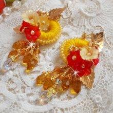 BO Bouton d'Or brodées avec des cristaux de Swarovski et du coton DMC jaune/orangé