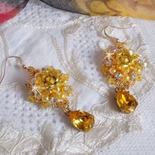 BO Sunflower Gold brodées avec des cristaux de Swarovski