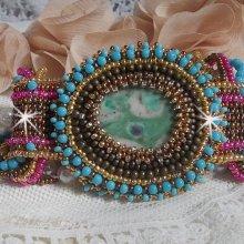 Bracelet manchette Cheyenne avec une pierre de gemme, un rubis Fuchsite avec des rocailles Miyuki et des rocailles tchèques.