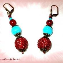 Boucles d'oreilles en perles 'Bel'Art' boules verre et bois
