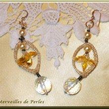 Boucles d'oreilles cristal et perles 'Bo'Soleil' flamboyantes