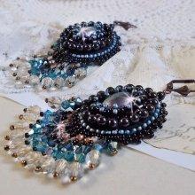BO Angelot brodées avec des cabochons en résine, perles en cristal de Swarovski et autres