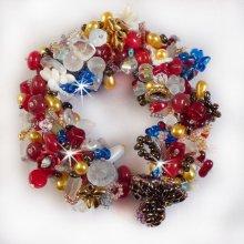 Bracelet en perles 'Printemps coloré' tourbillons de perles