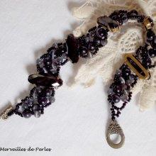 Bracelet cristal et perles  noires 'Liberty', effet noir