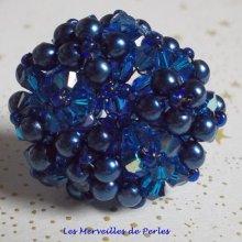 Bague cristal et perles 'Bleu Nuit' bleu intense