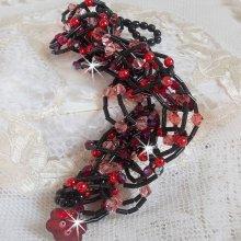 Bracelet cristal et perles 'Feeling' rouge et noir
