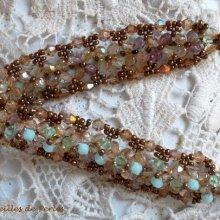 Bracelet cristal 'Nénuphar' Reflet vert d'eau et doé