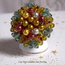 Bague cristal et perles 'Boutons nacrées'un jeu de perles