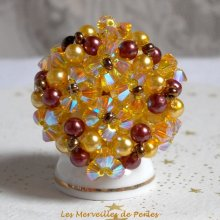 Bague cristal et perles 'Soleil', cascade de perles