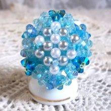 Bague cristal et perles 'Céleste' ronde de perles