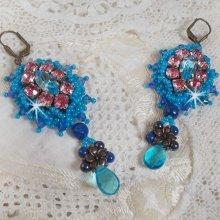 BO Belle Epoque brodées avec des Cristaux de Swarovski, des perles en métal, des perles rondes nacrées et des rocailles