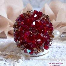 Bague cristal 'Coquelicot' sphère de perles