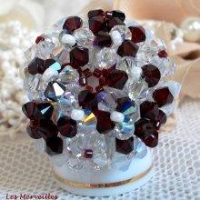Bague cristal 'Garnet et White' motif blanc et rouge