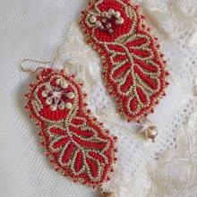 Boucles d'oreilles brodées de rocailles Miyuki façon Renaissance Or et Rouge