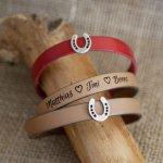 Bracelet cuir personnaisé décoré d'un petit Fer à cheval