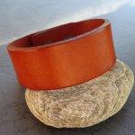 Bracelet mixte manchette cuir Camel à graver
