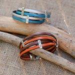Bracelet cuir double en duo avec passants style ethnique