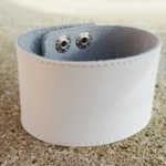 Bracelet mixte manchette cuir blanc