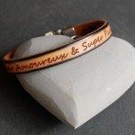 Bracelet cuir beige Homme à message à personnaliser