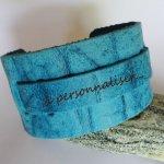 Bracelet manchette bleu turquoise à personnaliser
