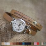 Montre bracelet cuir 2 tours personnalisable au cadran argenté