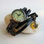 Montre originale look abeille bracelet cuir 5 tours