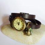 Montre bracelet cuir breloques Tortue