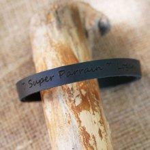 Bracelet cuir Noir épais personnalisable
