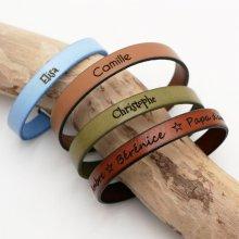 Bracelet cuir mixte gravé coordonnées GPS couleur au choix
