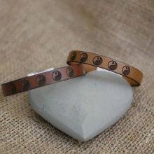 Bracelet cuir gravé de Yin et Yang