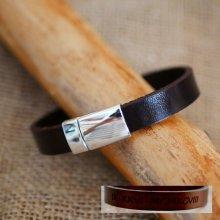 Bracelet cuir Marron foncé épais personnalisable