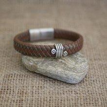 Bracelet cuir marron tressé homme fermoir acier brossé magnétique