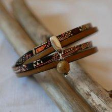 Bracelet cuir double ethnique avec breloque perle