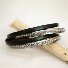 Bracelet cuir double gravé gris métalisé aux billes argentées personnalisable