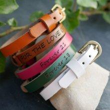 Bracelet cuir gravé femme simple tour à personnaliser
