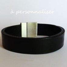 Bracelet Homme en cuir noir magnétique à graver