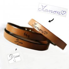 Bracelet cuir personnalisable par écriture manuscrite en simple, double ou triple tour