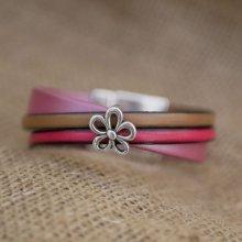 Bracelet manchette multi cuirs décor Fleur fermoir magnétique large
