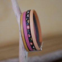 Bracelet manchette multi cuir couleurs acidulées personnalisable