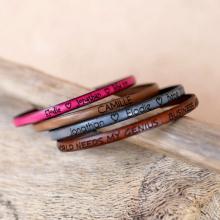 Bracelet cuir fin  gravé à personnaliser