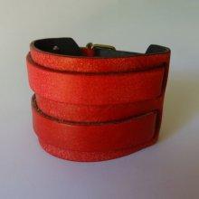 Bracelet mixte manchette Rouge à 2 bandes