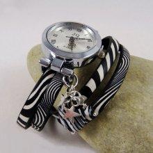 Montre bracelet double cuir Zebré