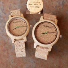 Cadeau couple montres bois et bracelet liège à personnaliser