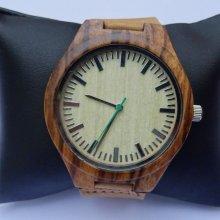 Montre homme bois veiné à graver sur bracelet cuir
