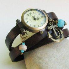 Montre triple cuir Marron Ancre marine perles bleues
