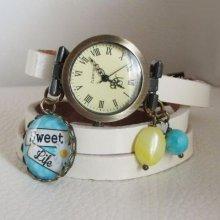 Montre bracelet cuir blanc Sweet life