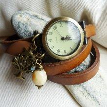 Montre bracelet cuir breloques Nature